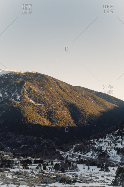 Sunrise on a snow-capped mountain