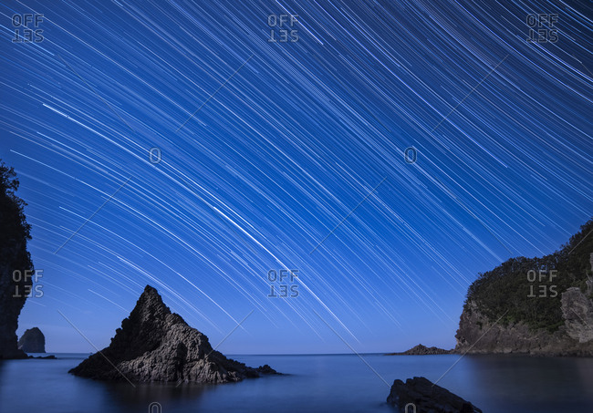 Star trails over the sea at Futou coast in Izu peninsula, Shizuoka Prefecture, Japan