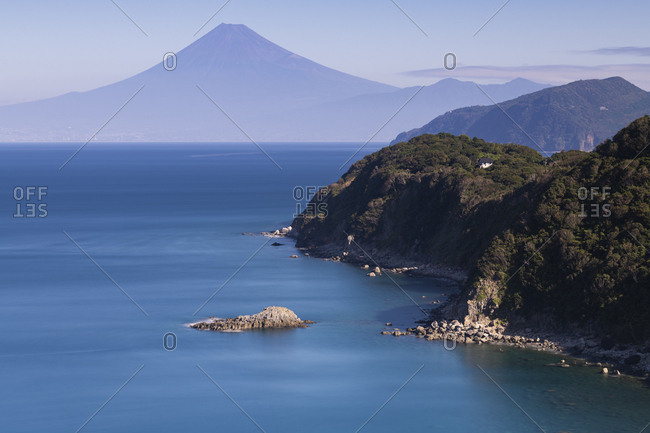 View of Mount Fuji on a peaceful morning from Lover's cape, Izu Peninsula, Japan