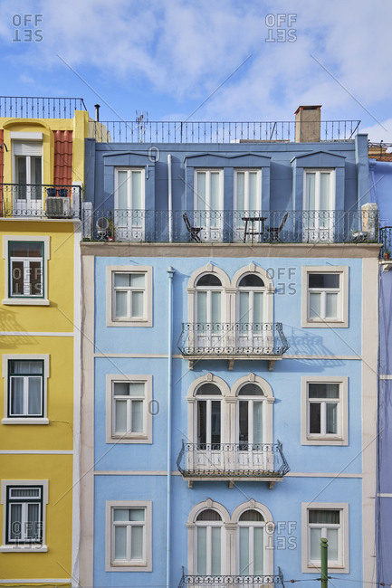 Lisbon, Portugal - November 25, 2019: Brightly colored facades of buildings in downtown Lisbon