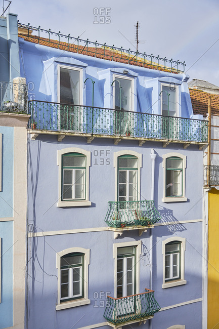 Brightly colored facades of buildings in downtown Lisbon, Portugal