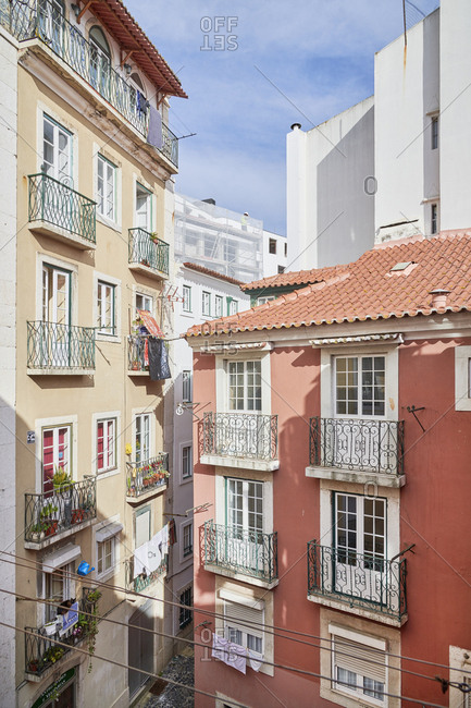 Lisbon, Portugal - December 4, 2019: Facades of buildings in downtown Lisbon with balconies