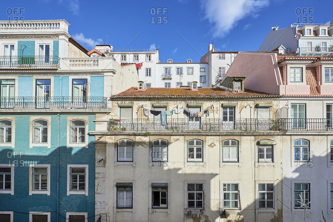 Lisbon, Portugal - November 15, 2019: Exterior of apartment buildings in Lisbon