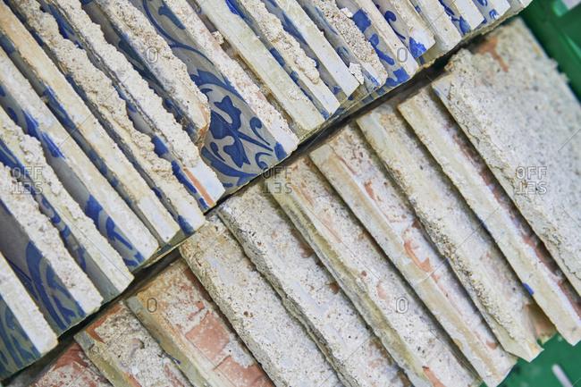 Antique Portuguese tiles at a construction site