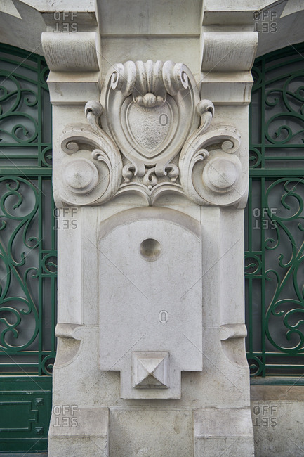 Decorated marble facade detail, Lisbon
