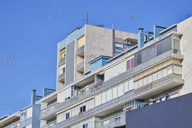 Low angle view of an apartment complex in Lisbon, Portugal