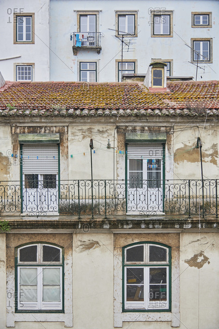 Facade of an old weathered building, Lisbon, Portugal