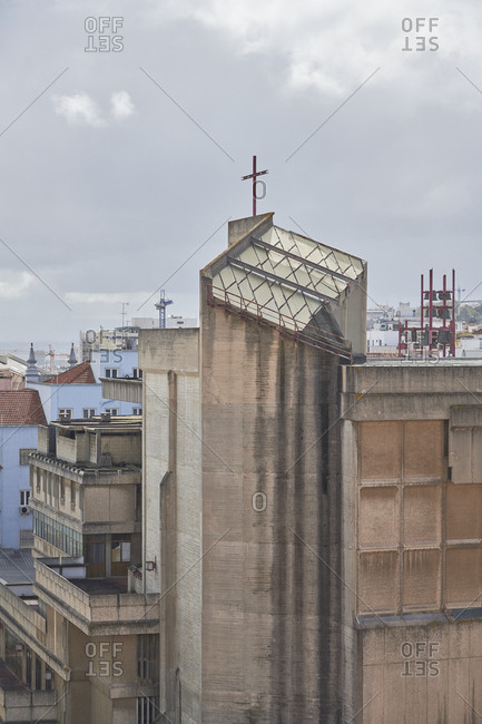 Elevated view over church and buildings, Lisbon, Portugal