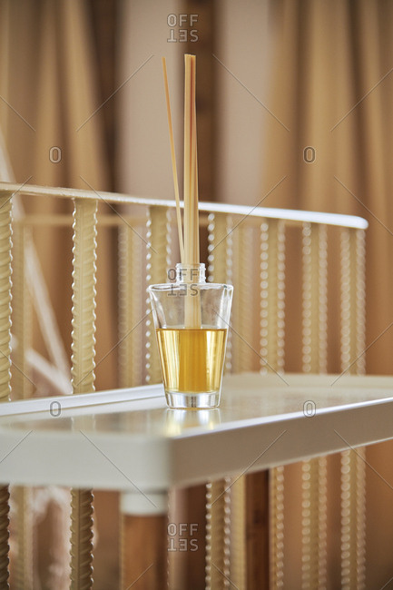Aromatic reed freshener on table in a spa salon