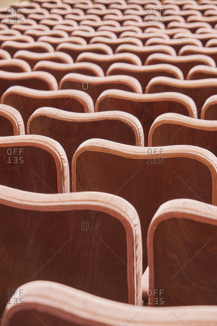 Detail of auditorium chairs, Lisbon, Portugal