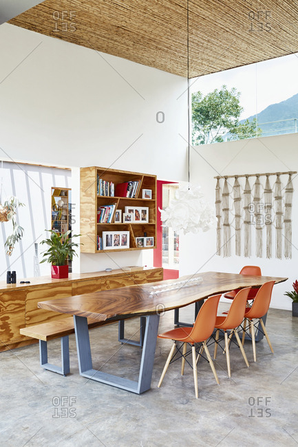 Costa Rica, Central America - July 30, 2019: Dining room in a Costa Rican home with retro chairs
