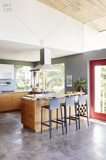 Costa Rica, Central America - July 31, 2019: Interior of modern home with large kitchen island