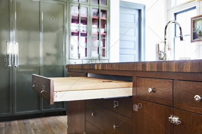 Open drawers in a kitchen in a home in Provo, Utah