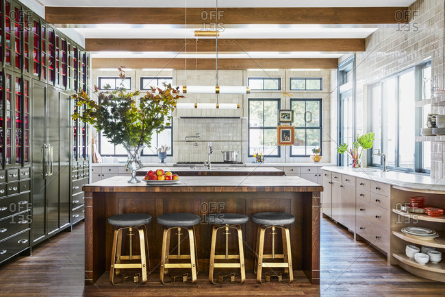 Large kitchen island in an upscale home in Provo, Utah