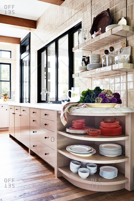 Large kitchen with tile walls in a home in Provo, Utah