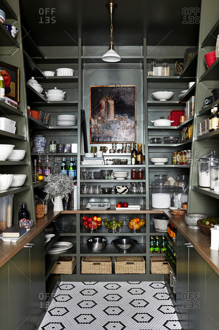 Provo, Utah - August 9, 2019: Kitchen pantry interior with dark shelves