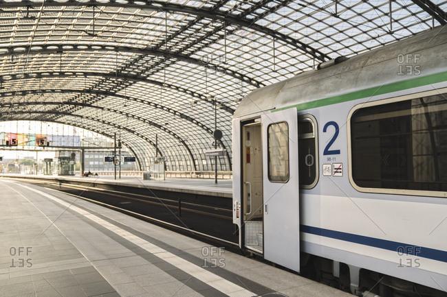 Train waiting at platform at central station- Berlin- Germany