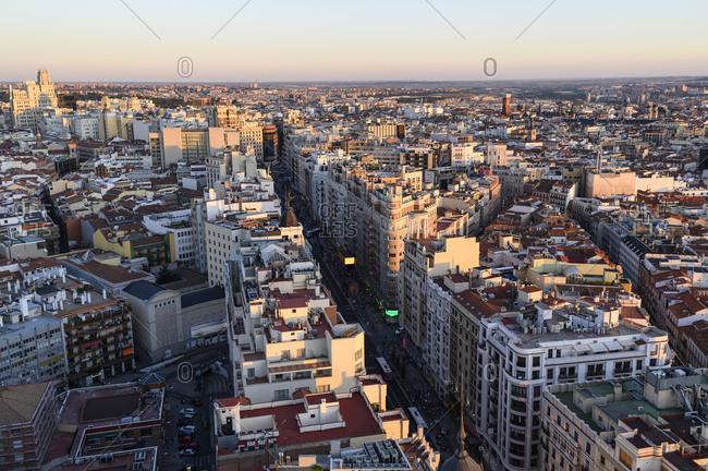 September 29, 2019: Spain- Madrid- Aerial view of Gran Via street at dusk