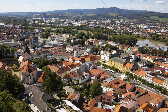 September 11, 2019: Slovakia- Trencin- High angle view of old town buildings surrounding Peace Square