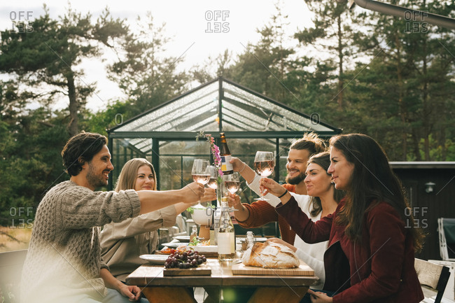 Male and female friends toasting wineglasses while enjoying dinner at garden party
