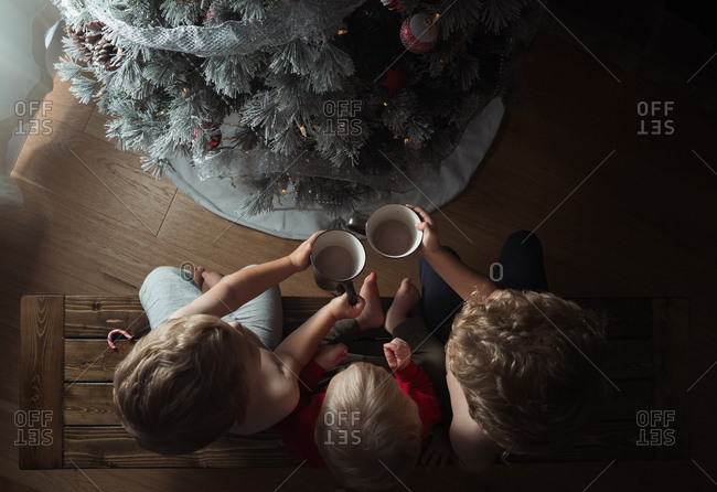 Three boys on bench having cocoa by the Christmas tree