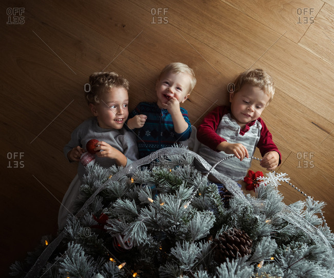Three boys lying on floor under Christmas tree
