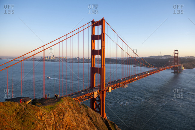 View of the Golden Gate Bridge from Marin Headlands in San Francisco, California