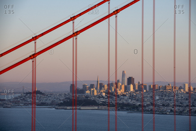 San Francisco, California - December 30, 2019: Golden Gate Bridge from Marin Headlands in with San Francisco skyline in the distance