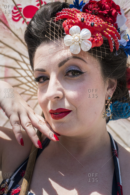 Brooklyn, New York - June, 22, 2019: Portrait of a woman dressed up for the 37th Annual Mermaid Parade, Coney Island