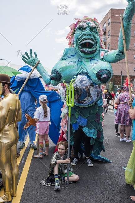 Brooklyn, New York - June, 22, 2019: Large costume at the 37th Annual Mermaid Parade, Coney Island