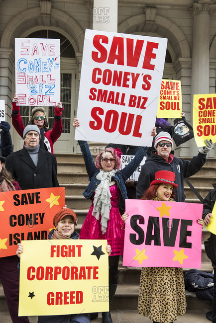 New York City, New York - December 05, 2019: Protest to Save Coney Island's small businesses on the Steps of City Hall