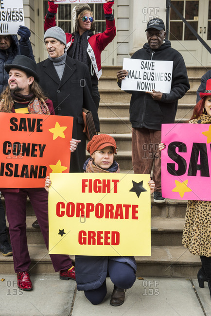 New York City, New York - December 05, 2019: Protesters gathered to Save Coney Island's small businesses on the Steps of City Hall