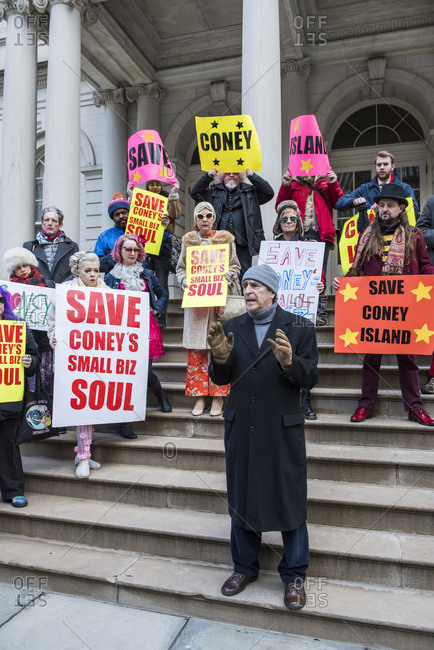 New York City, New York - December 05, 2019: Protest on the steps of City Hall to Save Coney Island's small businesses