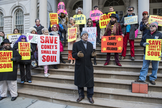 New York City, New York - December 05, 2019: Protesters gathered on the steps of City Hall to Save Coney Island's small businesses