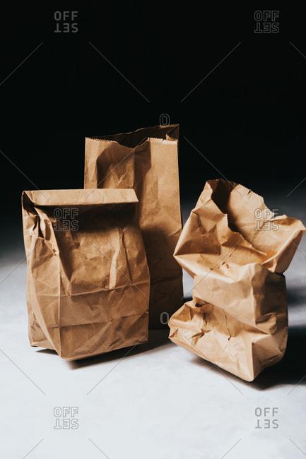 Crumpled brown paper bags