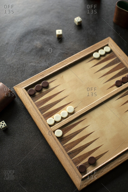 Wooden backgammon game board