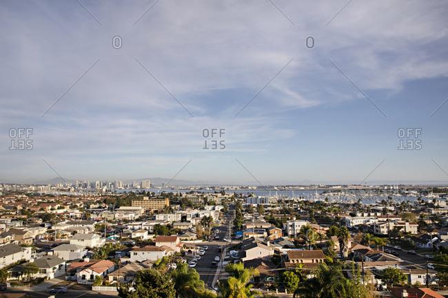 San Diego, California - November 3, 2018: Aerial view over residential neighborhood in San Diego