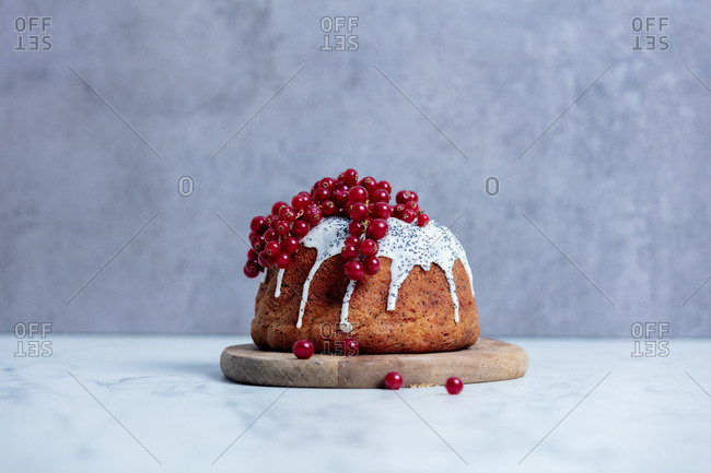 Cake with red currant on gray background