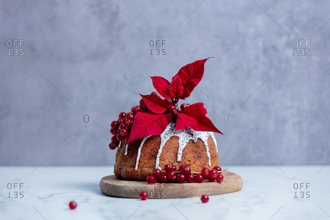 Cake with poppy seed cream and poinsettias