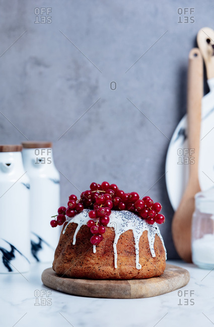 Freshly baked cake with red currant