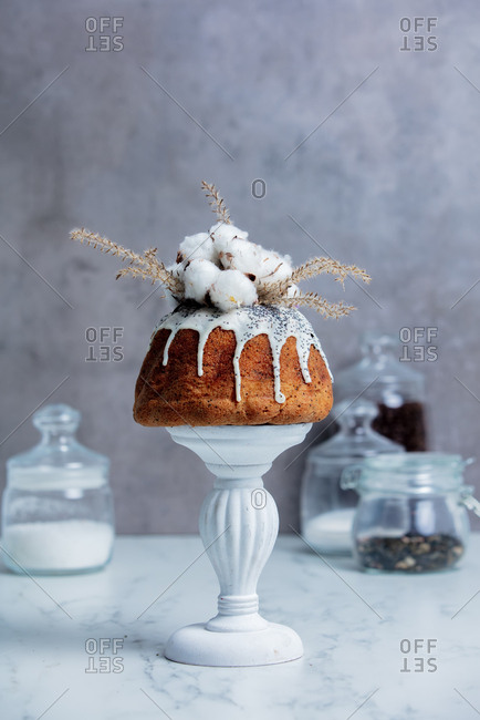 Cake with poppy seed cream and cotton on gray background