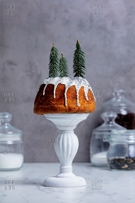 Cake with Christmas tree branches on cake stand