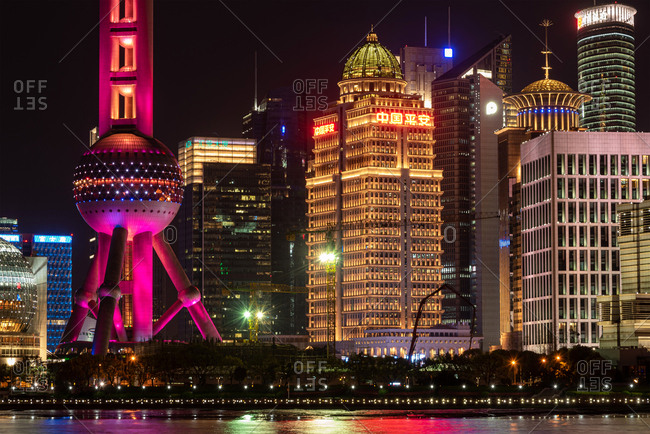 March 31, 2019: Closeup view of Shanghai pudong Skyline at night. Shanghai, China