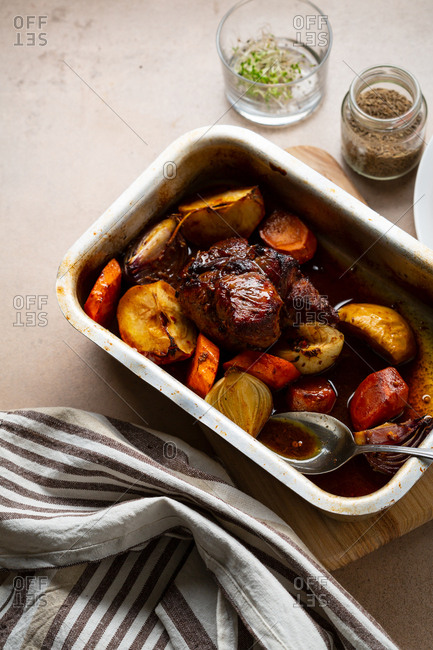 Meat and vegetables in a baking dish