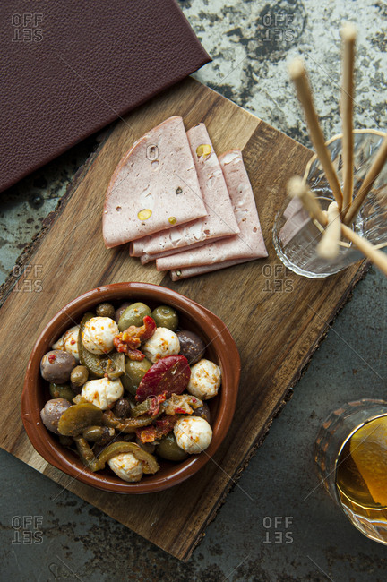 Traditional antipasto platter from above