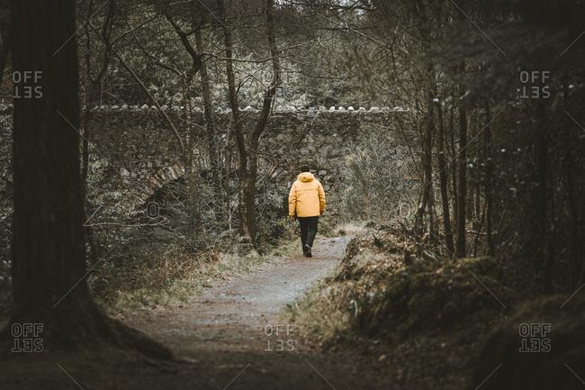 Back view of male traveler in bright orange jacket walking on pathway next to old stone bridge while visiting Tollymore Forest Park in Northern Ireland in spring day