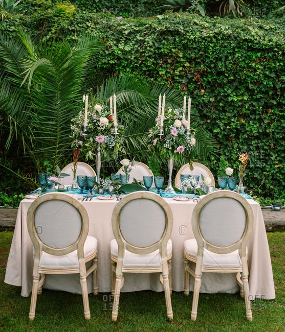Wedding set up in tropical garden