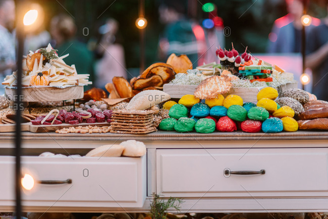 Candy bar with colorful pastry