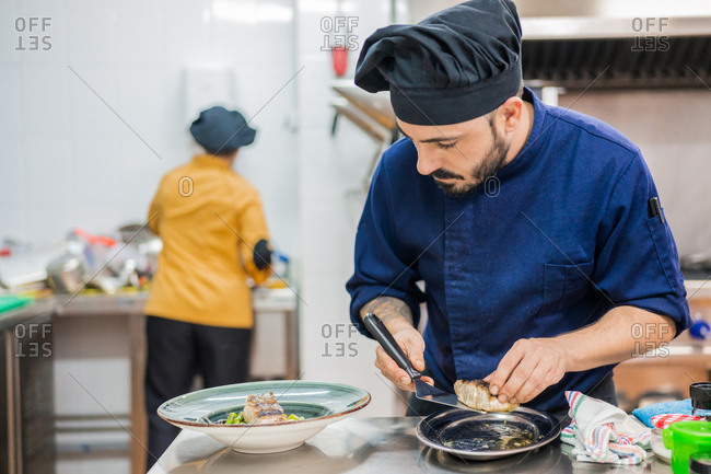 Modern male cook holding spatula and serving fish on portion plate while working in professional kitchen with colleague in background