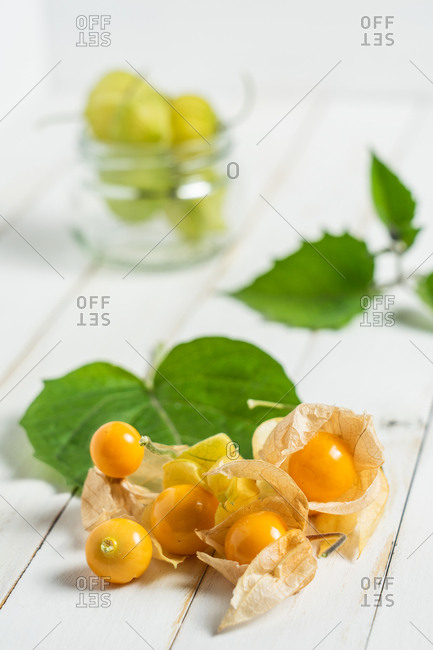 Physalis fruit (Physalis peruviana) also called uchuva, cape gooseberry or gold berries, native of Peru, on a wooden white board with leaves.